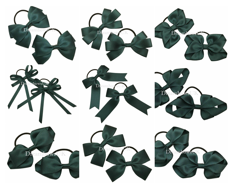 Bottle green hair bows on thin hair bobbles fe78743d642