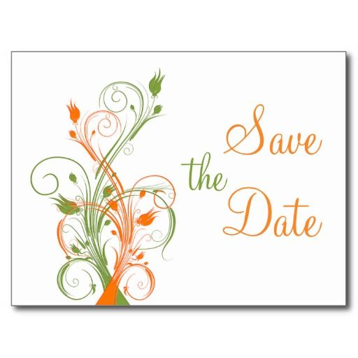 Orange Green White Floral Save the Date Post Card