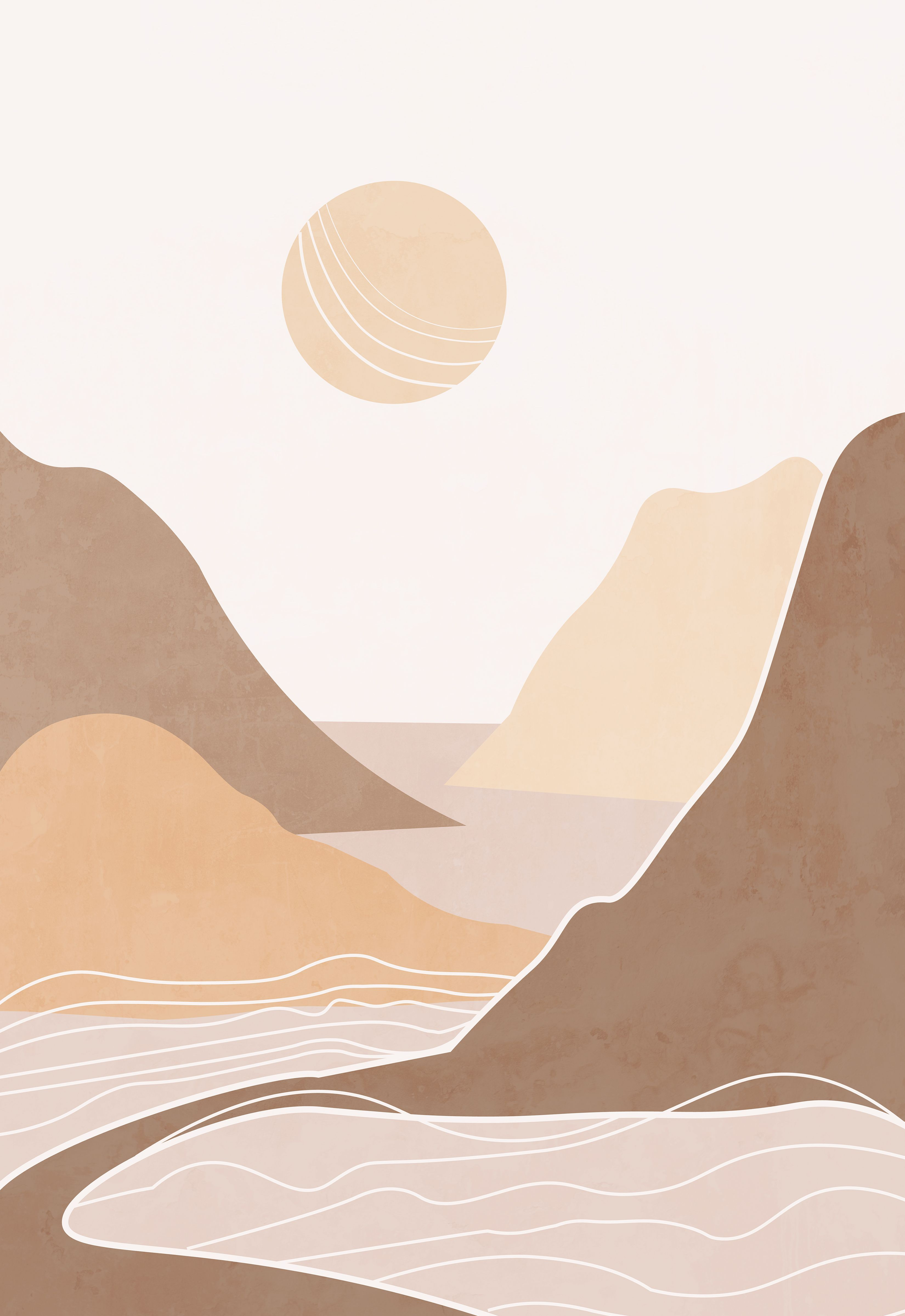 Abstract Landscape Terracotta Bohemian Printable Wall Art Minimalist Wall Art Printable Wall Art Botanical Poster