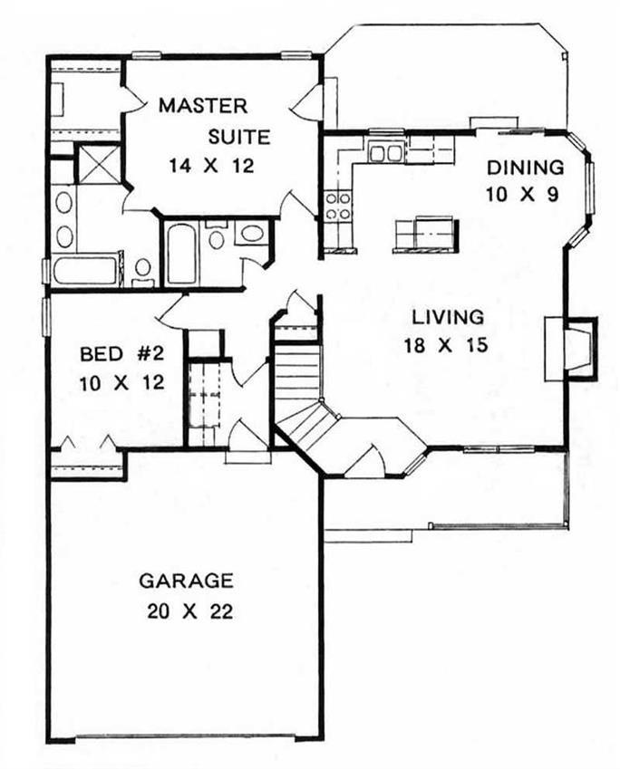 Ranch House Plan 2 Bedrms 2 Baths 1075 Sq Ft 103 1098 Small House Plans Small House Floor Plans Ranch Style House Plans