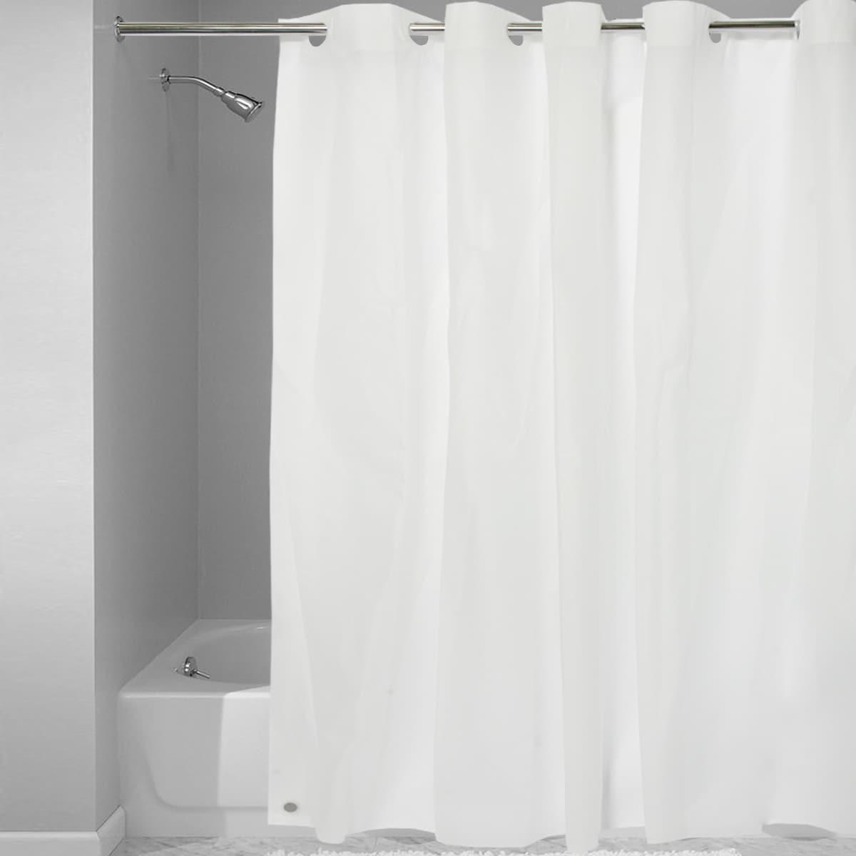 Easy On Shower Curtain Liner With Built In Hooks White Eva
