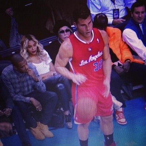 Beyonce got caught looking at Blake Griffin's ass at the Clipper's game last night wonder what dirty thought were going through her head at that moment!