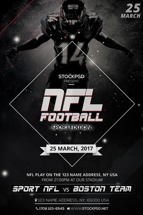 NFL Football Free Flyer PSD Template - http://freepsdflyer.com/nfl-football-free-flyer-psd-template/ Enjoy downloading the NFL Football Free Flyer PSD Template created by Stockpsd!  #Bar, #Club, #Elegant, #Event, #Football, #Music, #Nightclub, #Party, #Pub, #Soccer, #Sport, #Tailgate