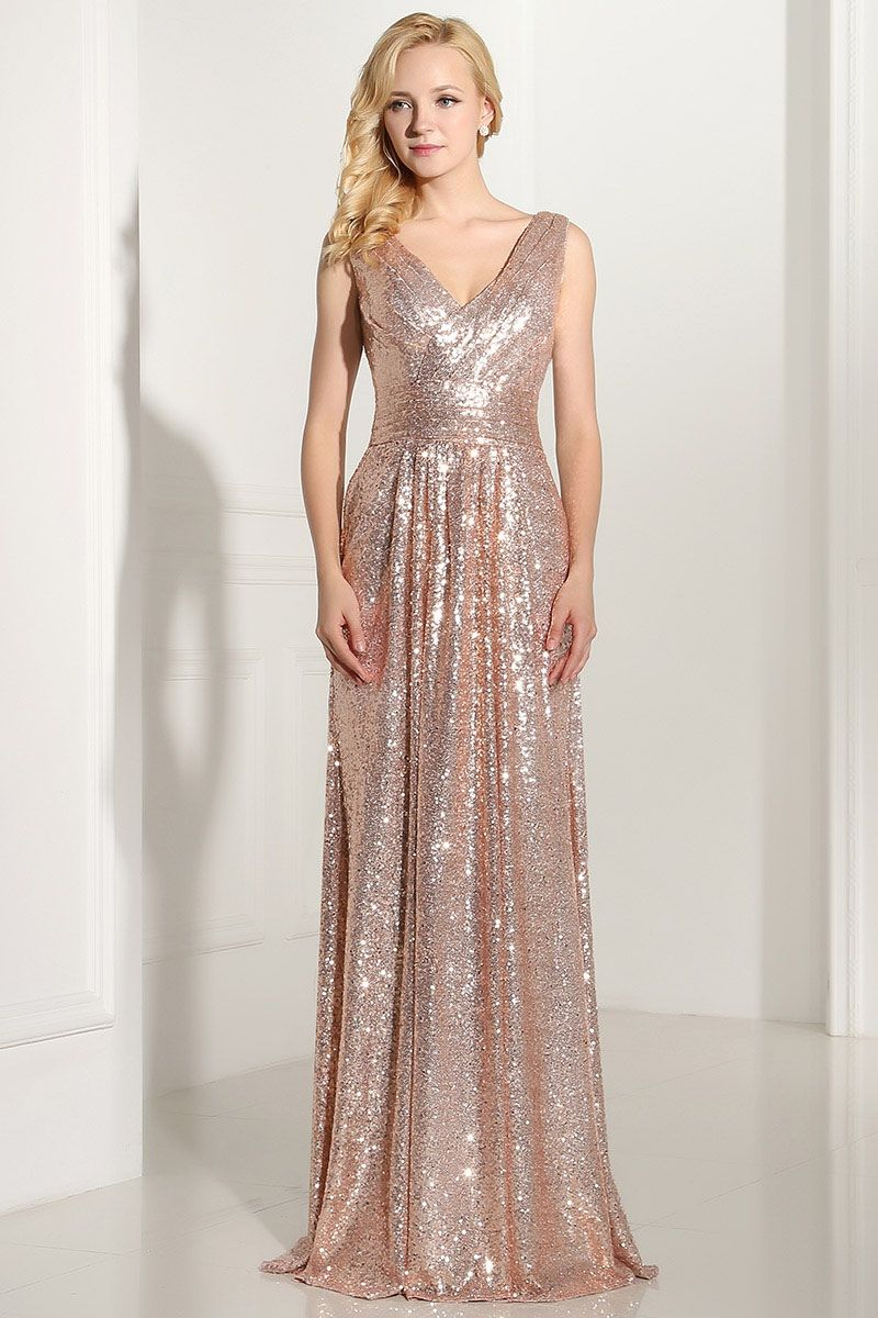 Charming vneck sequined long prom dresses in 2020 prom