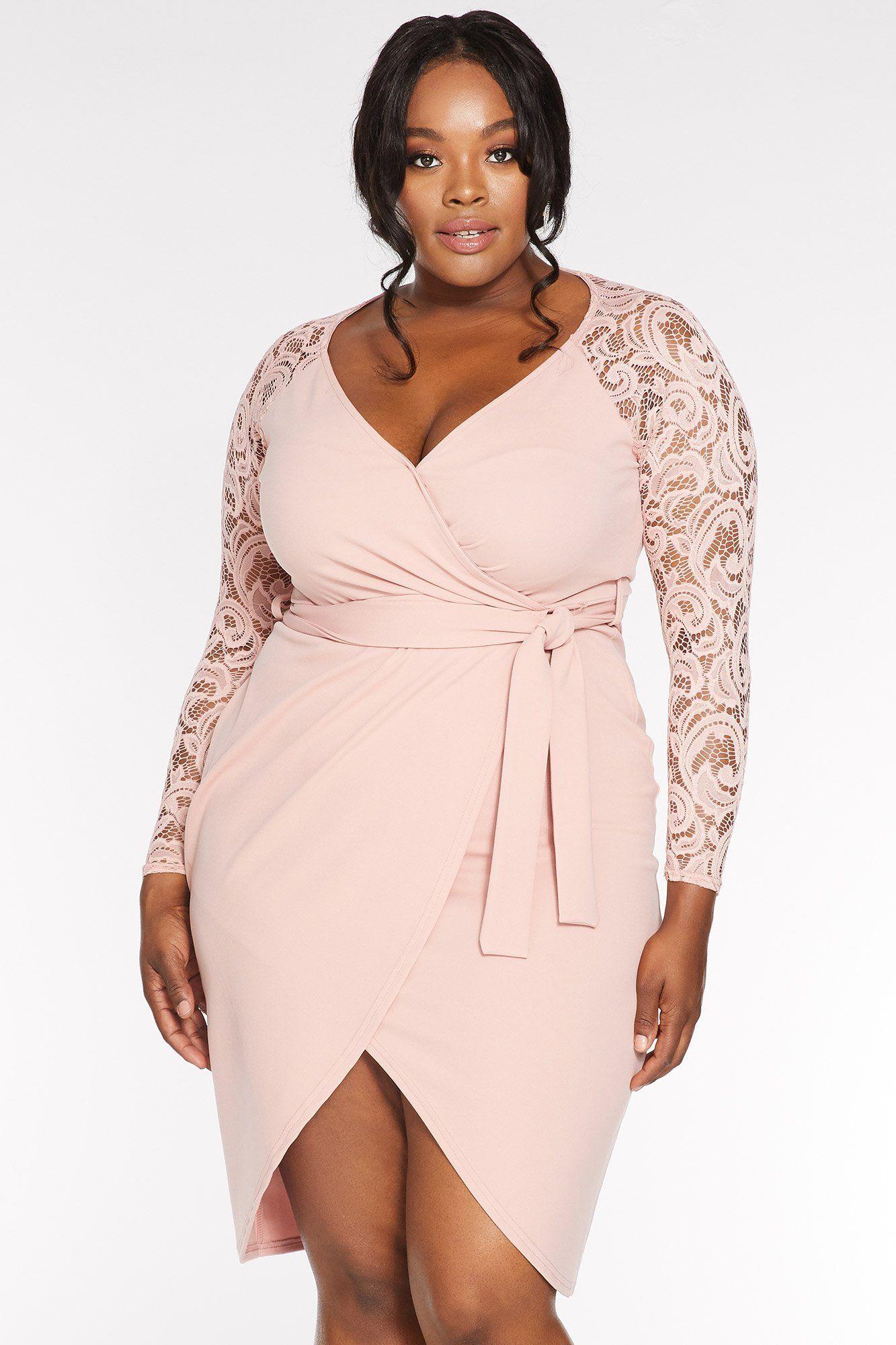 Quiz Curve Blush Pink Lace 3 4 Sleeve Midi Dress Midi Dress With Sleeves Midi Dress Dresses [ 2000 x 1333 Pixel ]