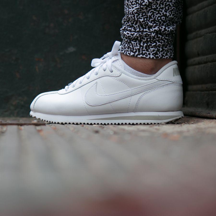 white on white nike cortez