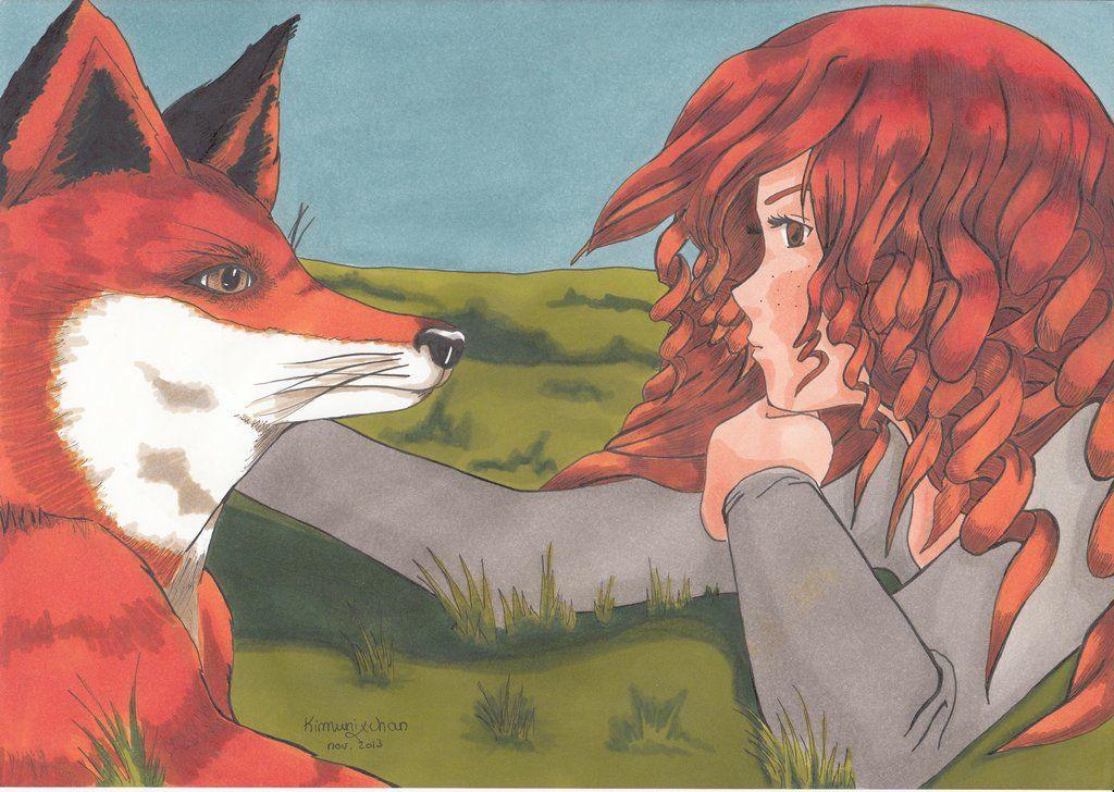 Kimunixchan's drawing, Merida and a fox