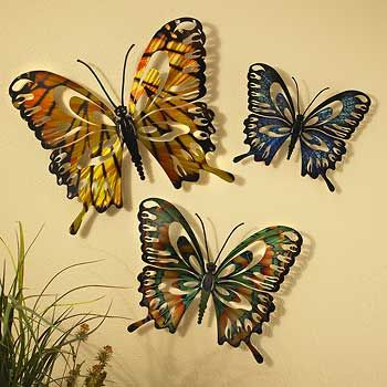 Old Fashioned Metal Wall Art Butterflies Vignette - Wall Art ...