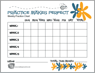 Download And Print Free Practice Makes Perfect Music Practice Chart Bumblebee And Flowers Record Music Practice Chart Music Practice Violin Practice Chart