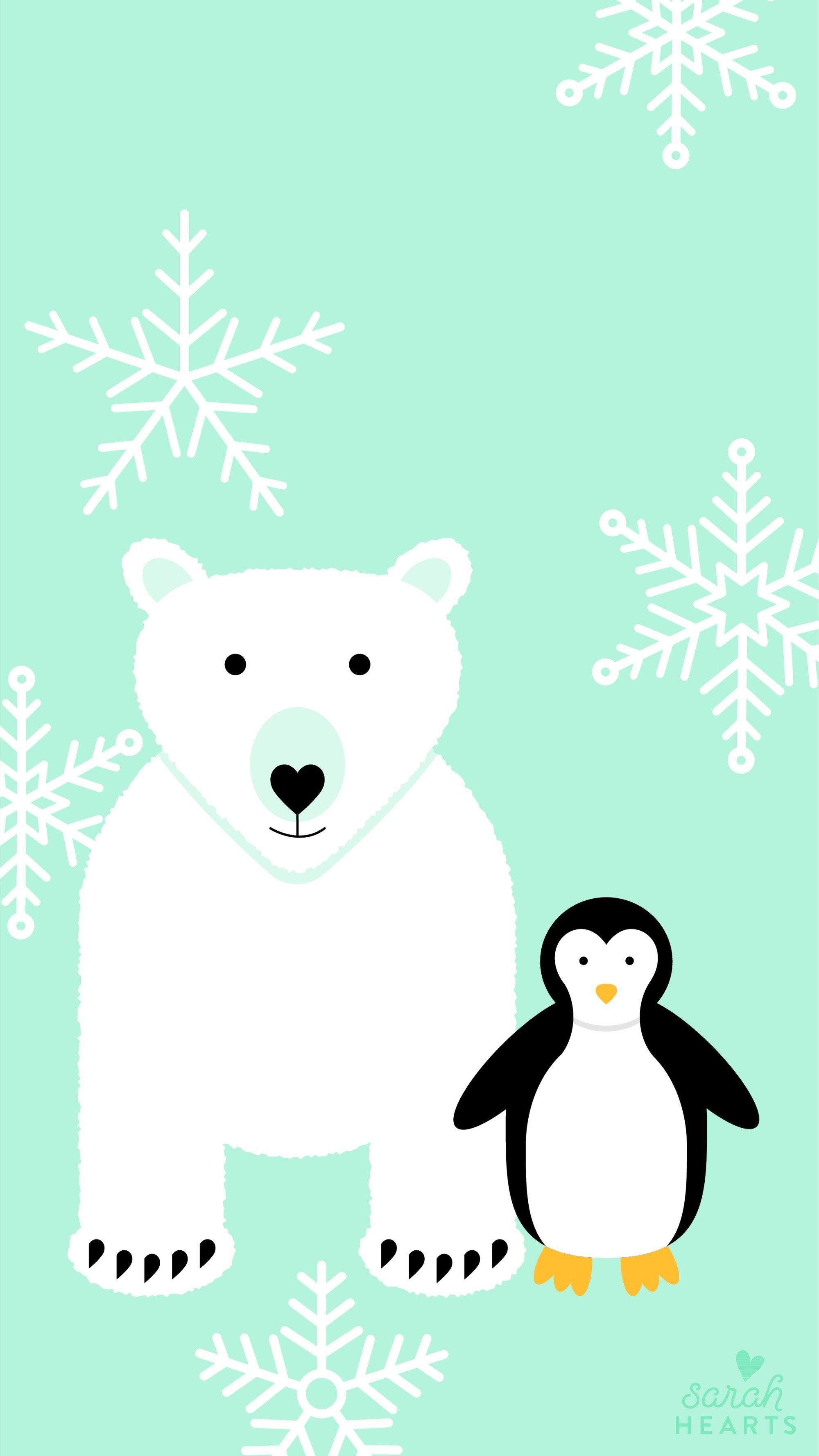 Polar Bear and Penguin January 2018 Calendar Wallpaper - Sarah Hearts