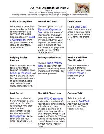 Here's a menu of choice options for a 3rd grade unit on