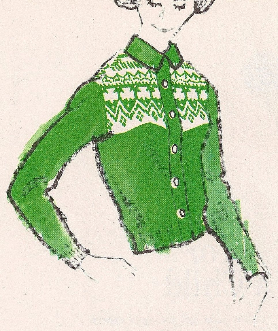 Free Vintage Girl Scout Trefoil Sweater Pattern (sizes 36, 38 and 40 ...
