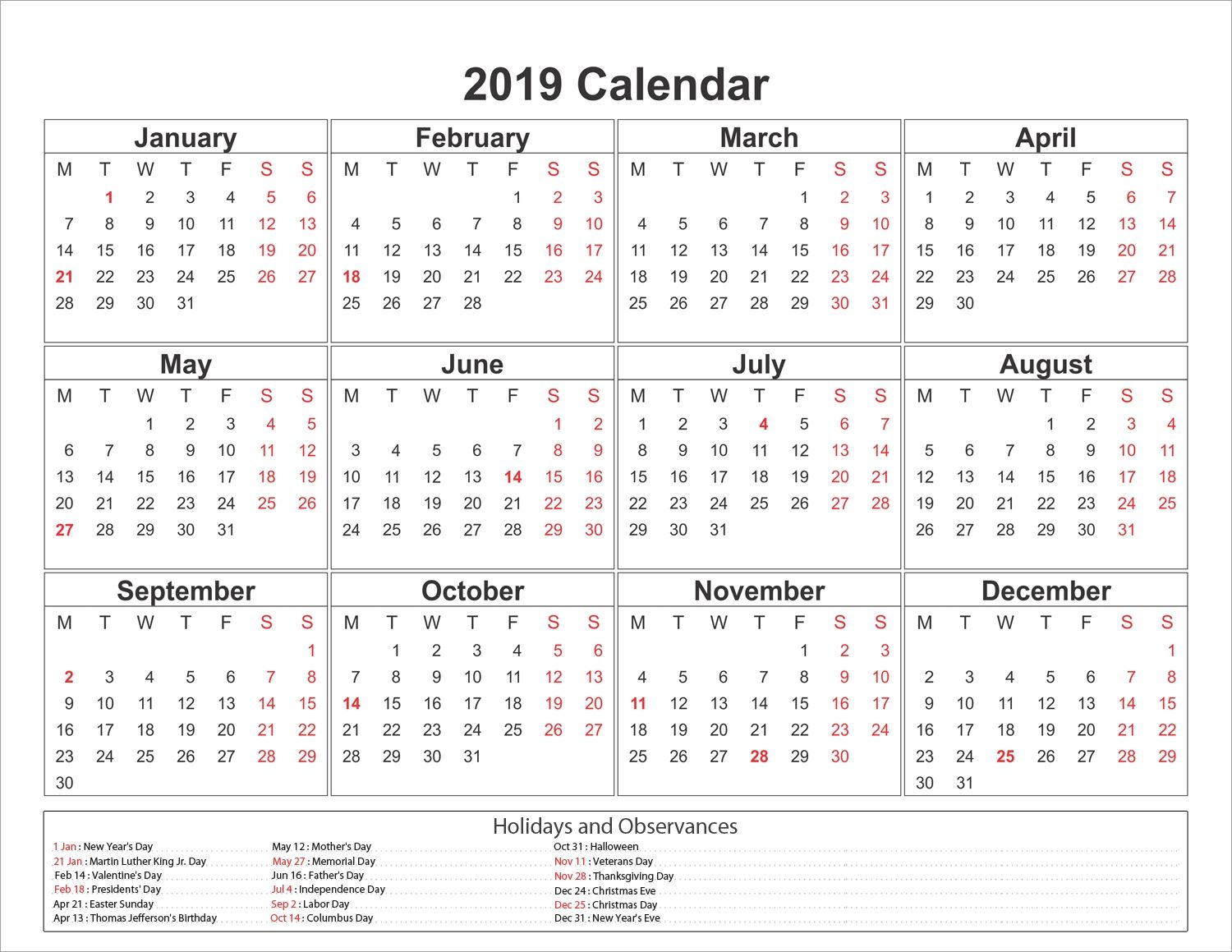 Day Of Year Calendar 2019 printable yearly printable 2019 calendar pdf template