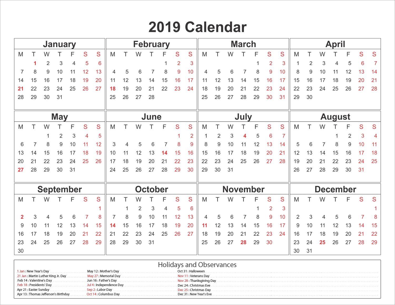 Printable Yearly Printable Calendar Template