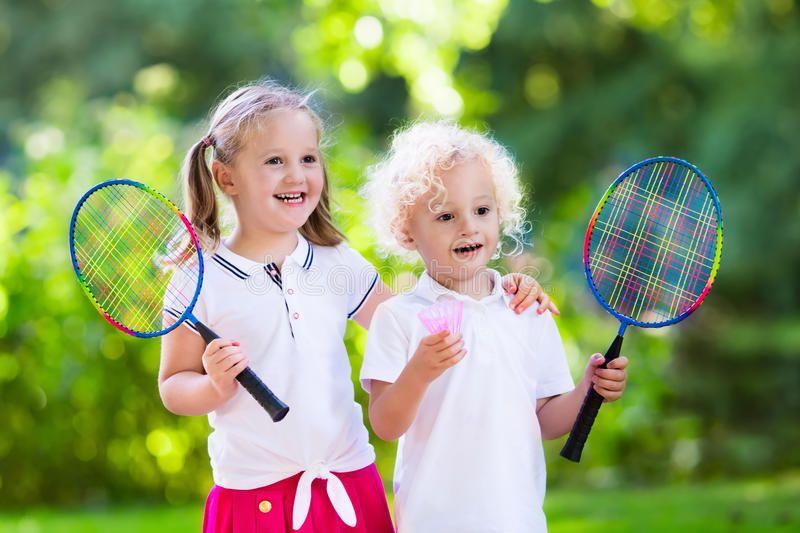 Kids Play Badminton Or Tennis In Outdoor Court Active Preschool Girl And Boy Pl Affiliate Outdoor Court Active Tennis With Images Kids Playing Tennis Badminton