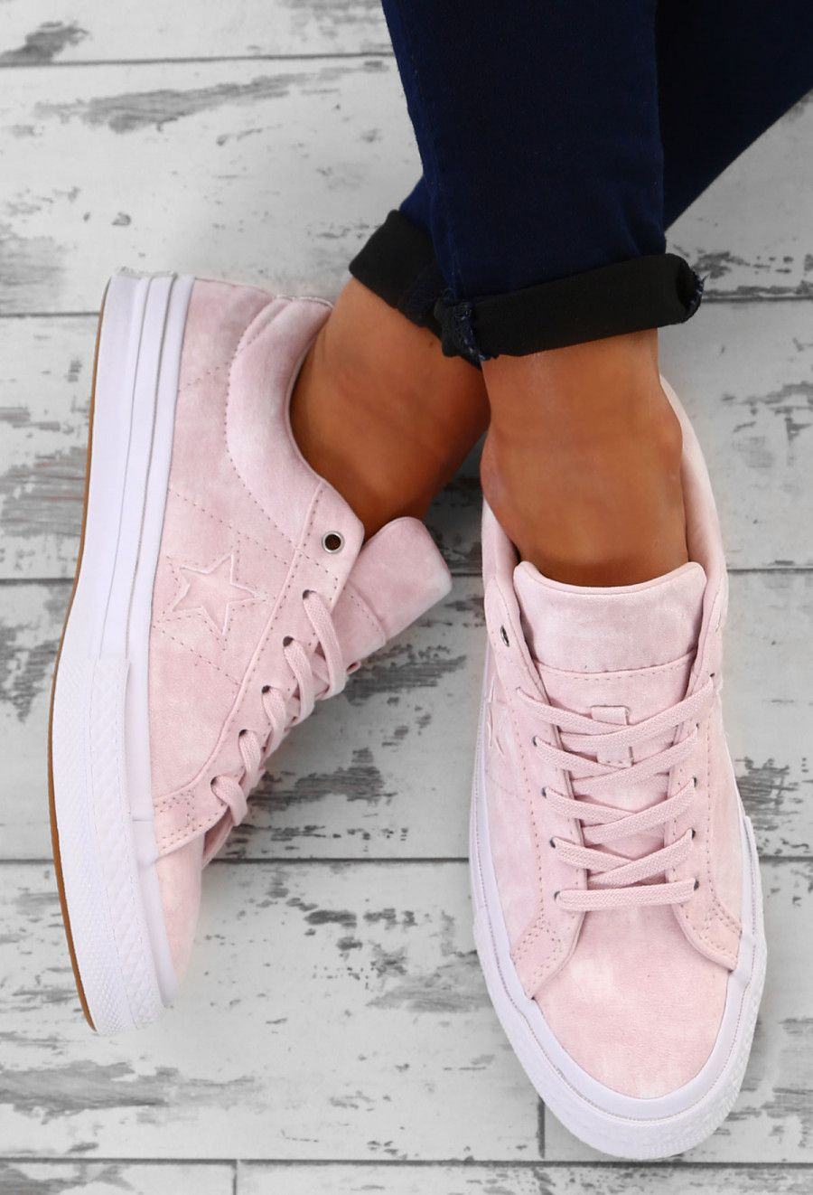 46b674ff60542f Converse One Star Pink Suede Trainers