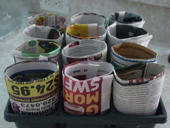 create newspaper pots, crafts, repurposing upcycling