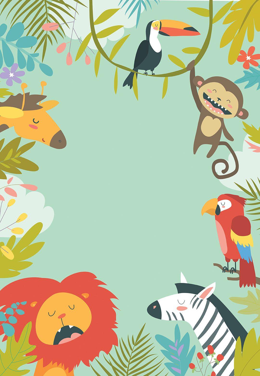 wild animals free birthday invitation template greetings island