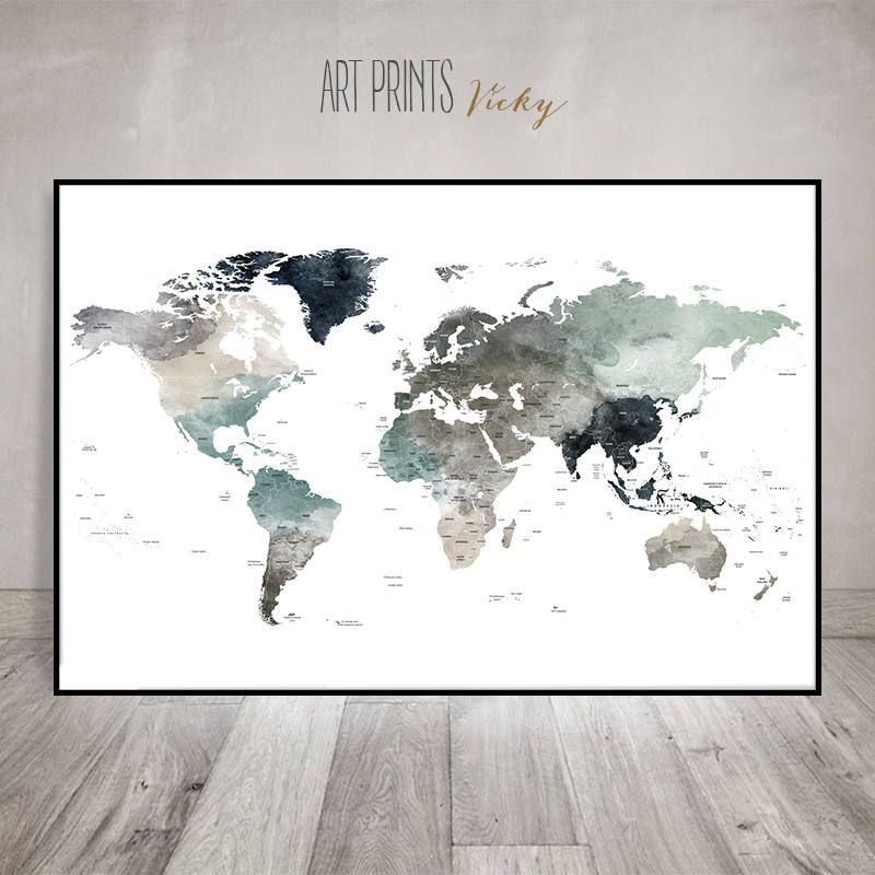 Detailed world map, World map wall art, World map poster, Large ...