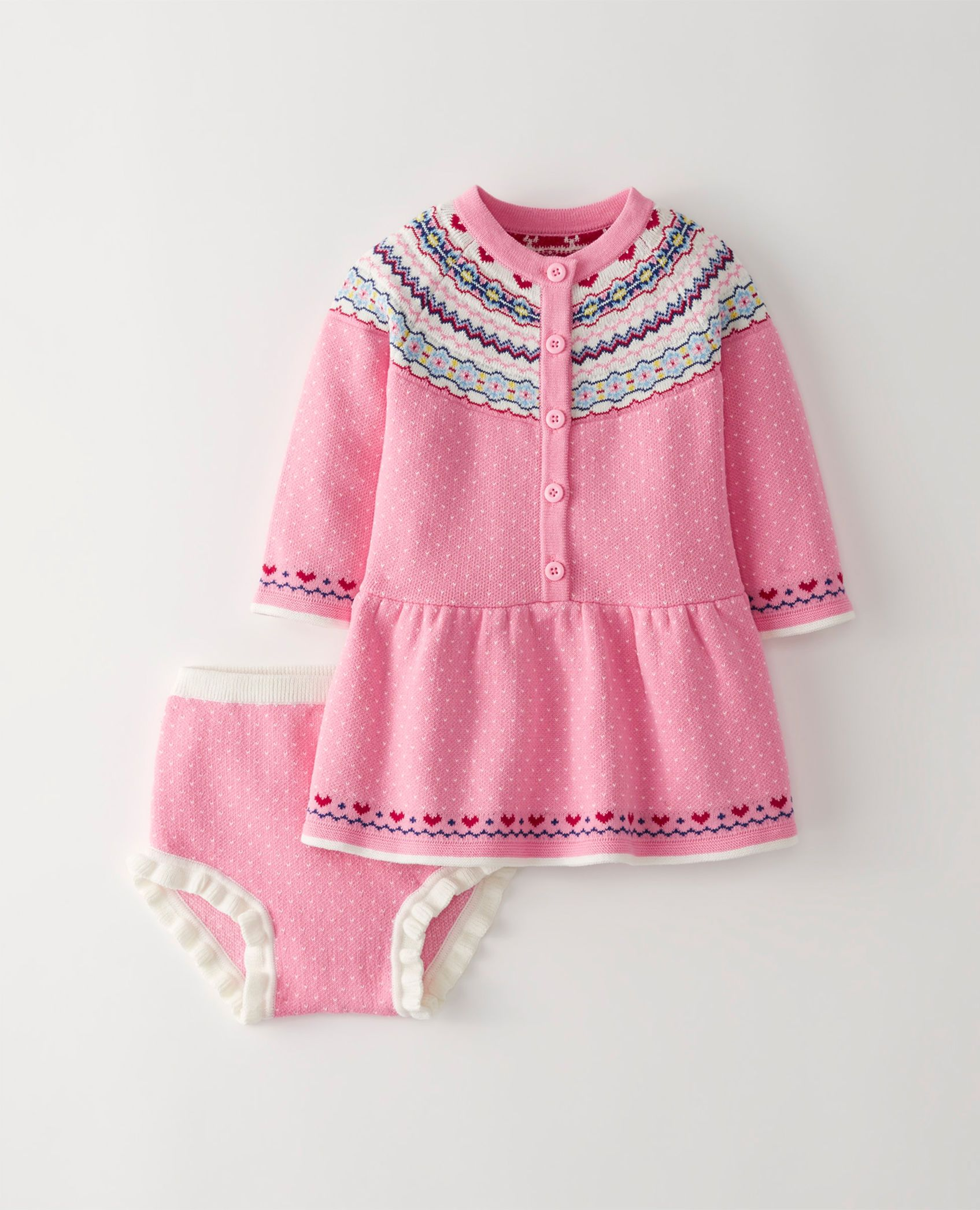 Fair Isle Sweater Dress Set in Playhouse Pink - main | Many Years ...