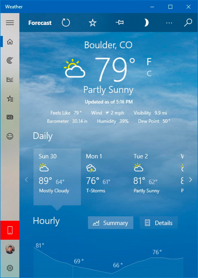Ever notice that the weather forecast on your Windows PC