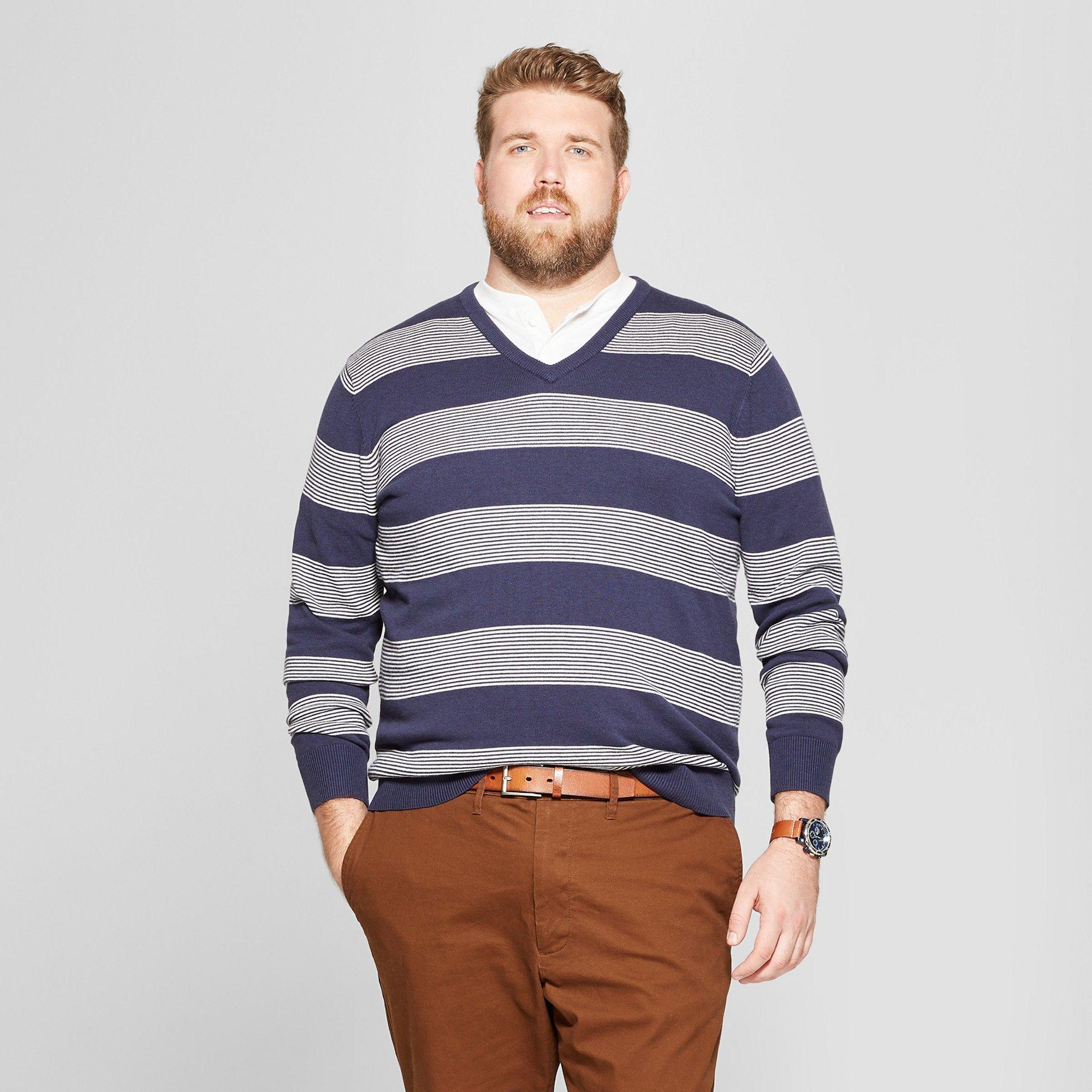 e07063829477b Men s Big   Tall Striped Crew Neck Sweater - Goodfellow   Co Navy Heather  2XBT