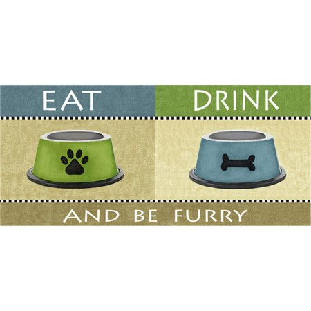 Slide this printed mat underneath your pet diner to catch spills and splatters.     Product: Pet matConstruction M...