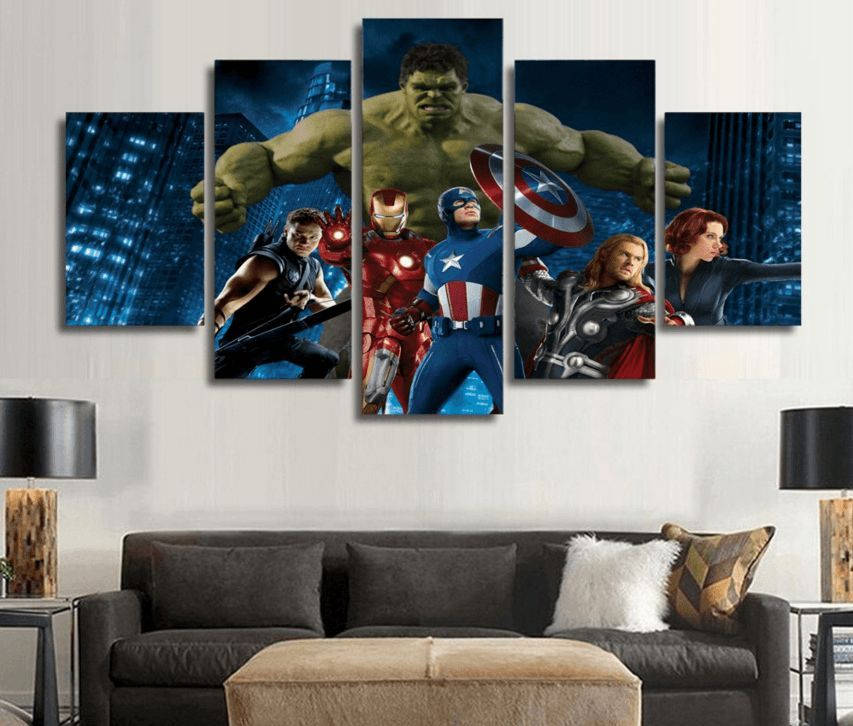5 Panel The Avengers Movie Framed Wall Canvas Art
