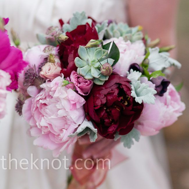 Pink, red and green wedding bouquet // Jared Wilson Photography // Bouquet: Stacy Pisani // http://www.theknot.com/weddings/album/a-garden-wedding-in-estes-park-co-84769