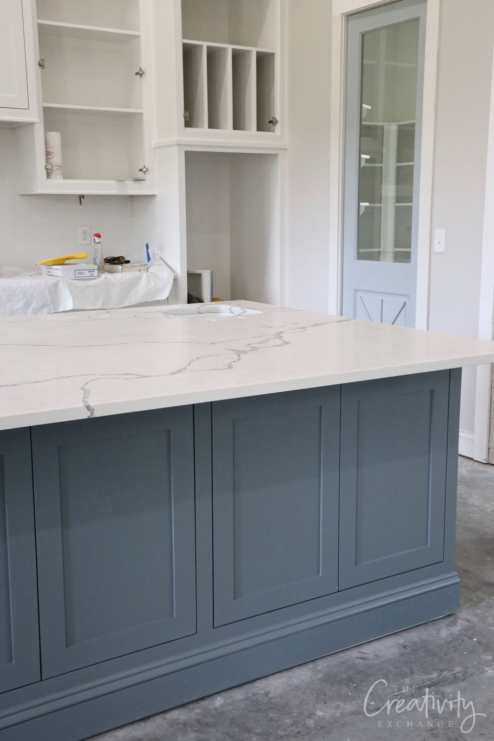 How to Create a Custom Paint Color Mix - Grey kitchen island, Grey blue kitchen, Kitchen island different colour, Blue kitchen island, Grey kitchen, Painted kitchen island - We're sharing easy tips for how to create a custom paint color mix for your walls, cabinetry and exterior