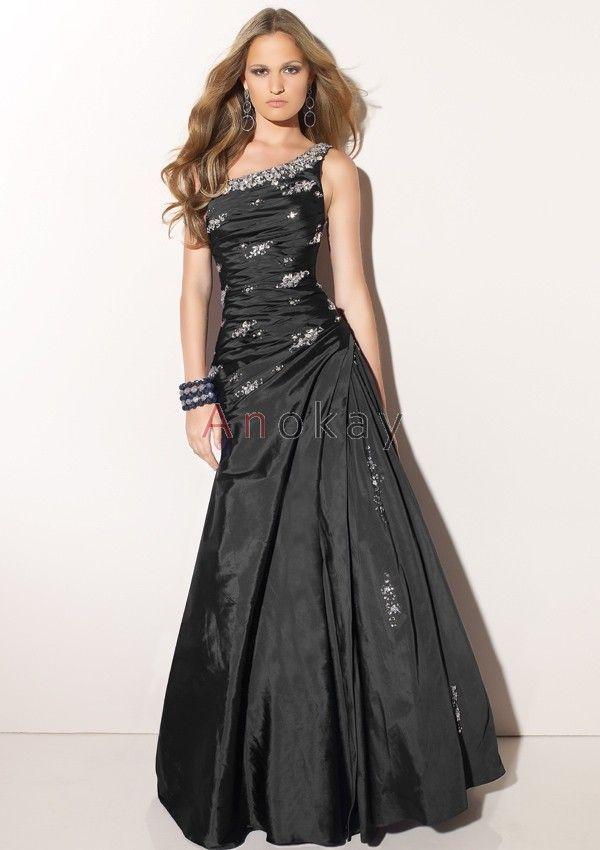 Eine Schulter A Line Taft Abendkleider PLM1304064 | Schwarze ...