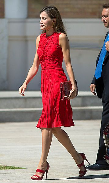 Also opting for head to toe red was Queen Letizia, in a Nina Ricci dress for an outing in Malaga, Spain on July 24.   Photo: Daniel Perez/Getty Images