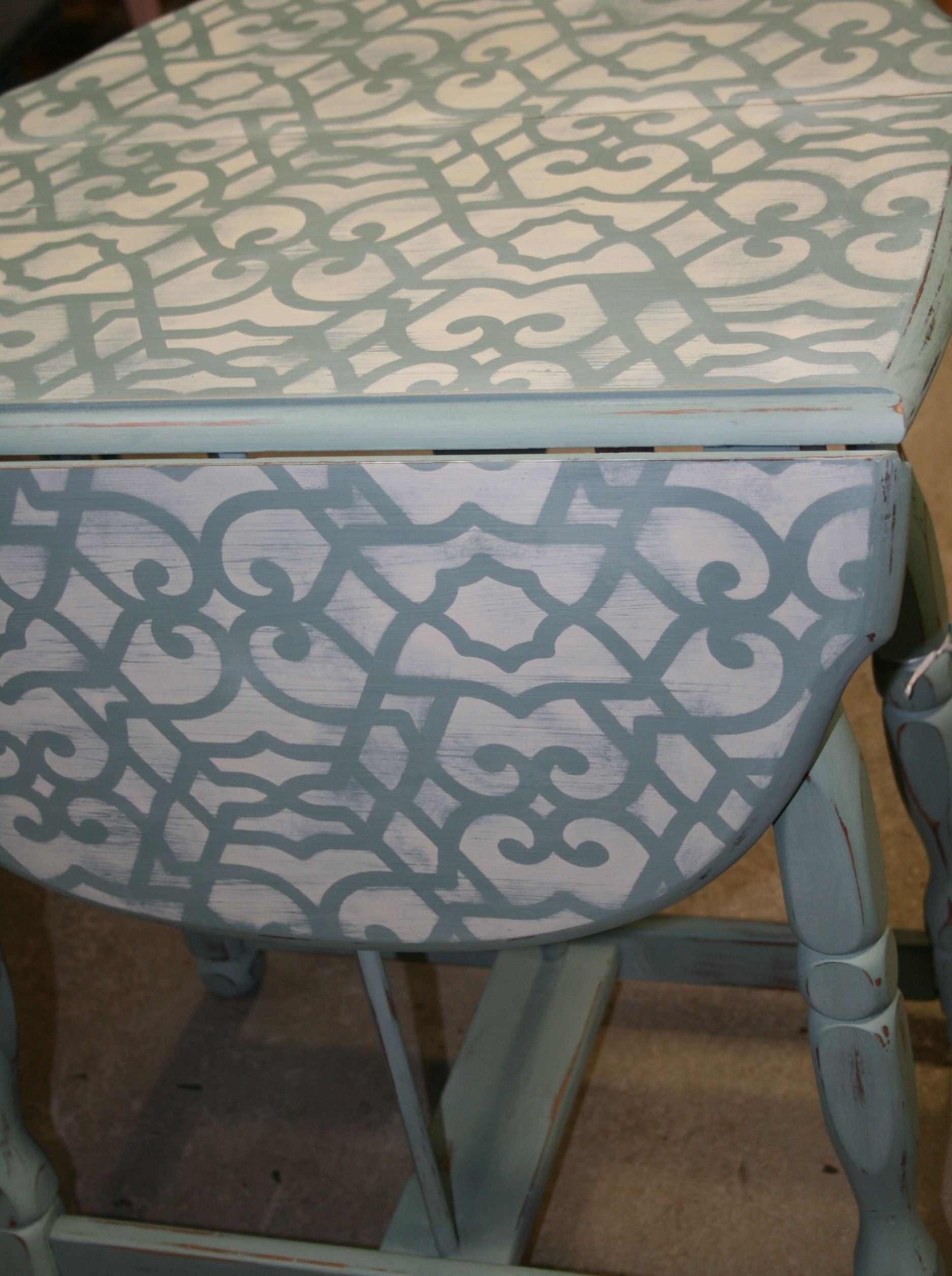 Stenciled, Small Drop Leaf Table