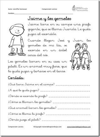 Comprensión lectora: Jaime y los gemelos   Pinterest   Comprensión ...
