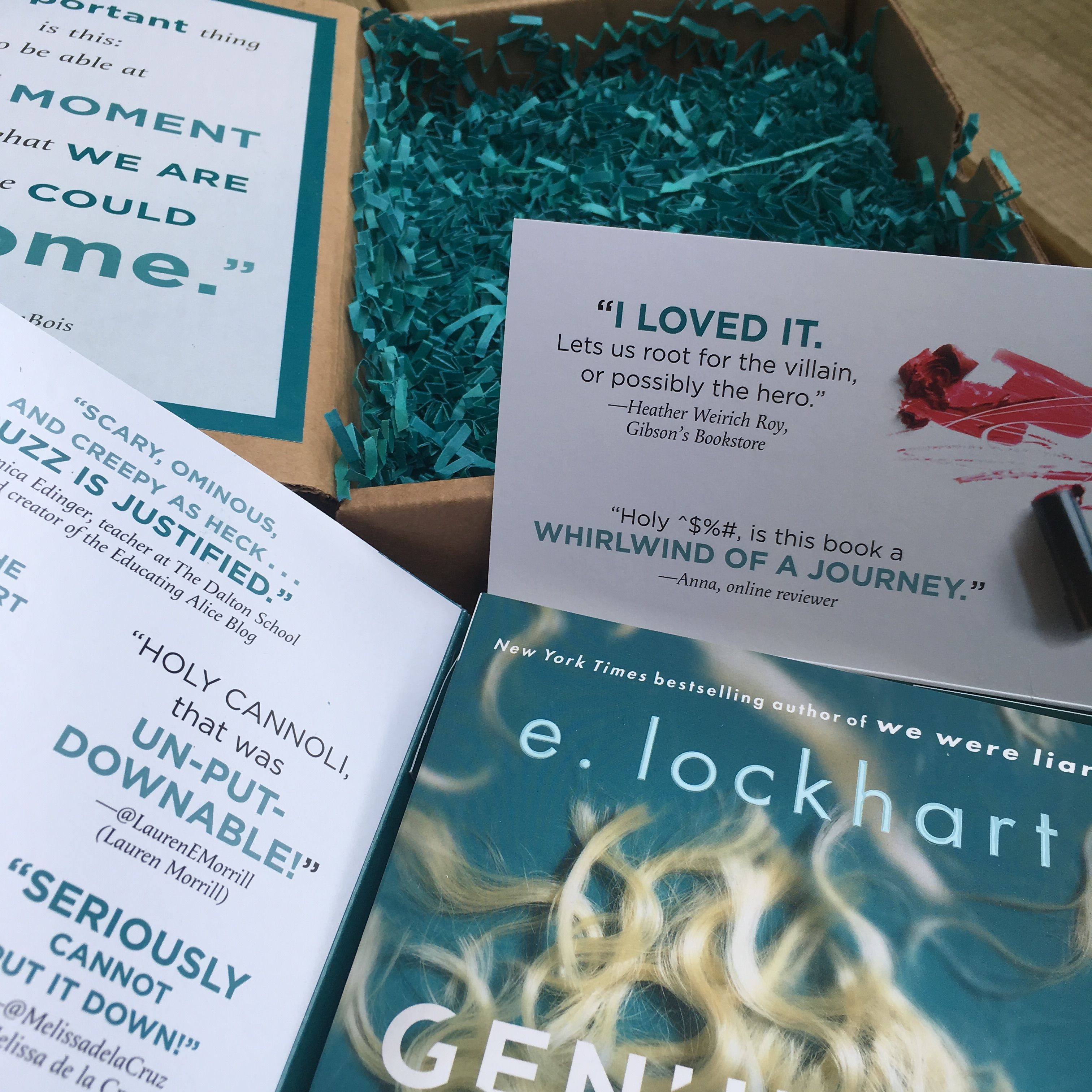 US bookseller preview box for Genuine Fraud by E. Lockhart.