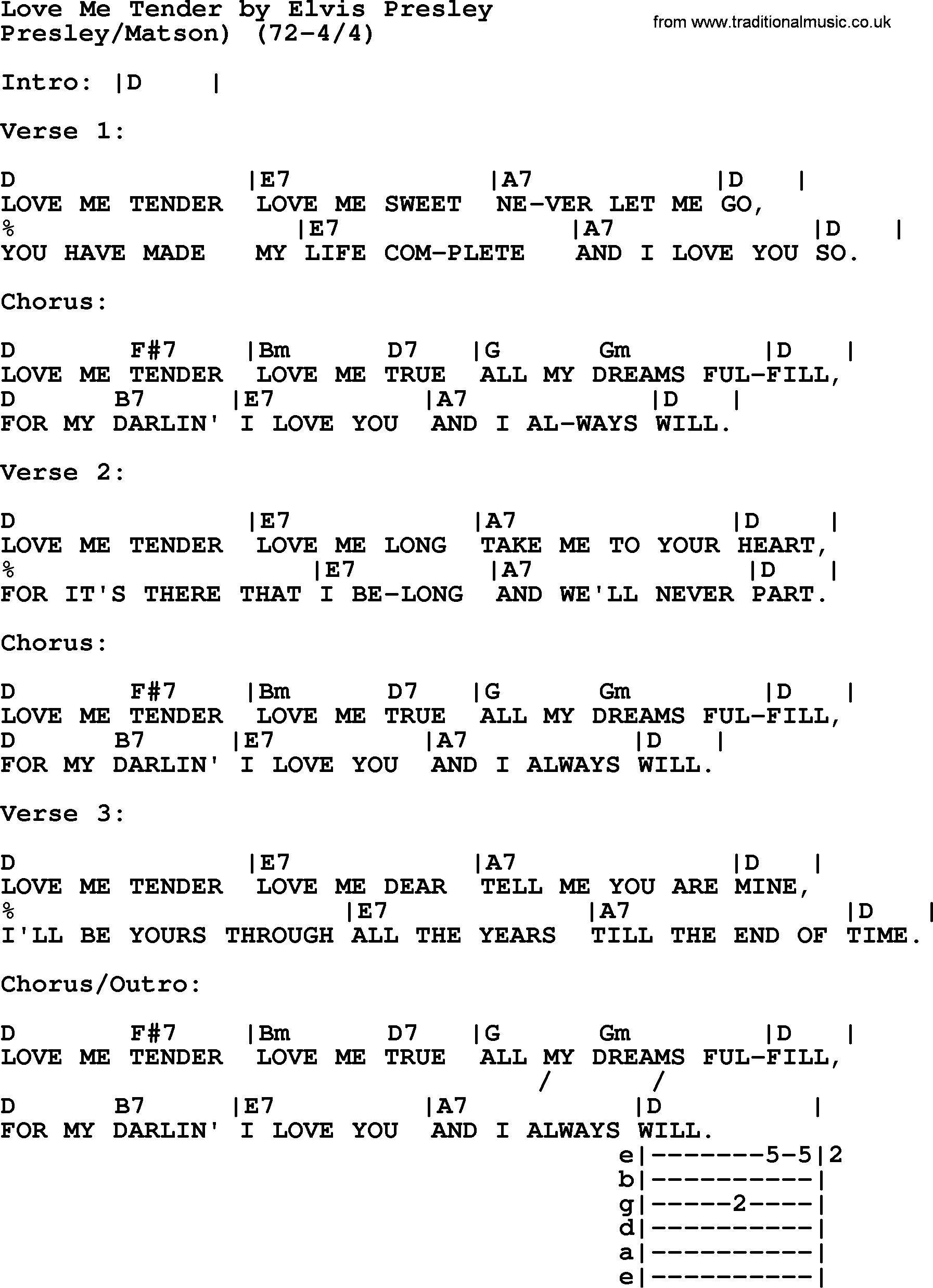Love Me Tender By Elvis Presley Lyrics And Chords Music