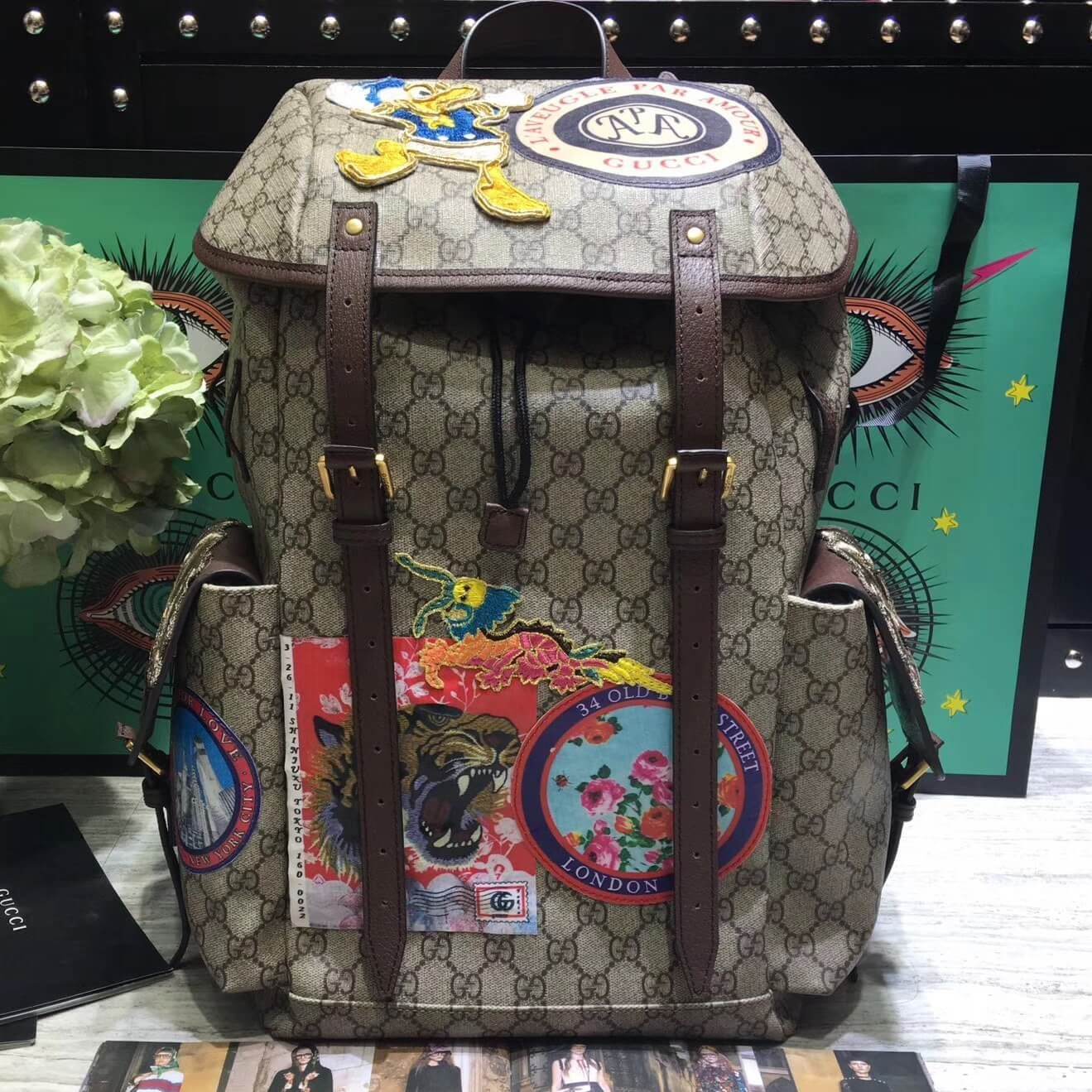 9b841b3d9934 Gucci 460029 Soft GG Supreme Backpack with Donald Duck Appliqués 2017