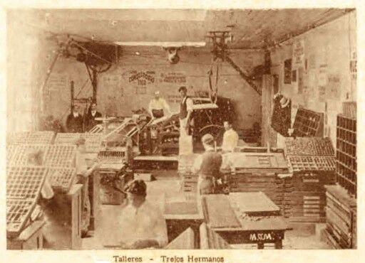 TALLER DE LA LIBRERÍA E IMPRENTA TREJOS HERMANOS. SAN JOSÉ. CIRCA 1915-1916. FOTO : (MGM) MANUEL GÓMEZ MIRALLES.