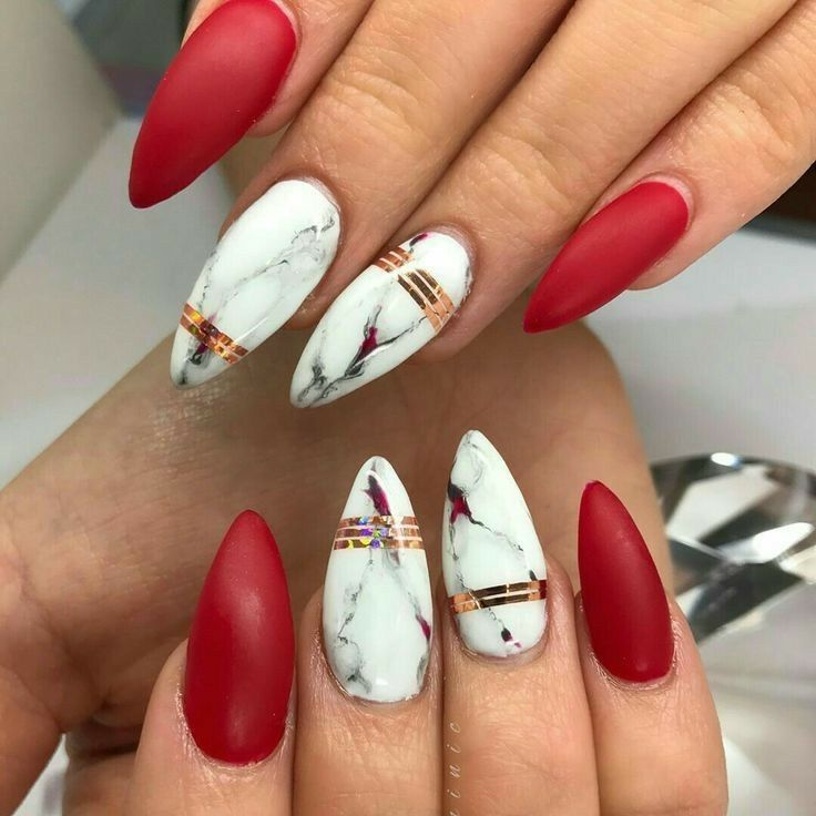Almond nails red marble xmas acrylic matte also rh pinterest