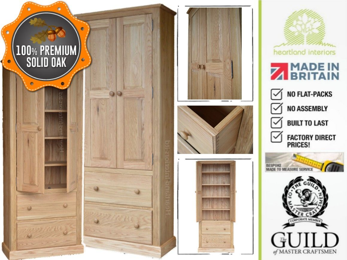 Traditional Solid Oak 2M Tall Multi-Purpose Storage Cabinet with ...