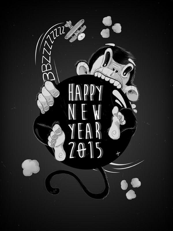 HAPPY NEW YEAR 2015 on Behance #illustration #monkey #blackandwhite #kingkong