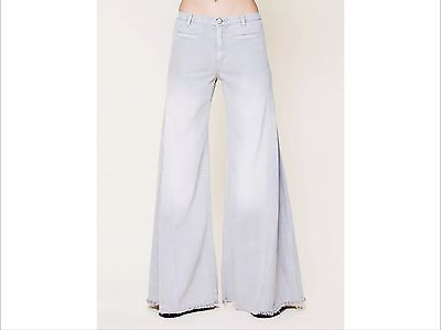 NWoT Free People Vintage Extreme Flare in London Fog Gray Bell Bottom Jeans 26