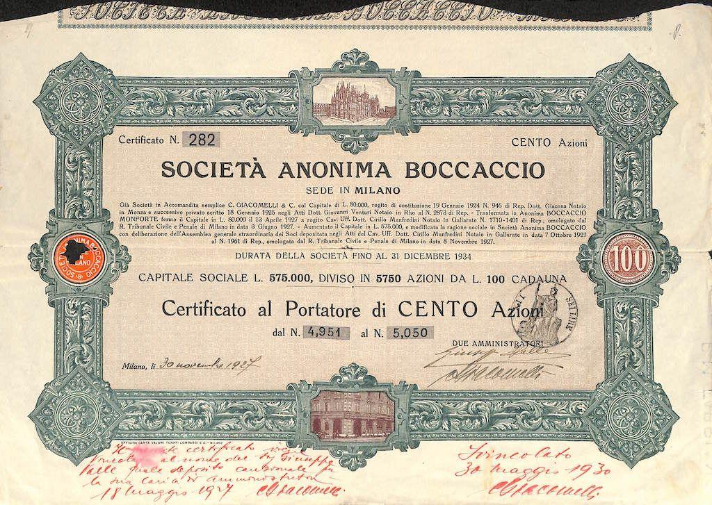 BOCCACCIO SOC. AN. - #scripomarket #scriposigns #scripofilia #scripophily #finanza #finance #collezionismo #collectibles #arte #art #scripoart #scripoarte #borsa #stock #azioni #bonds #obbligazioni