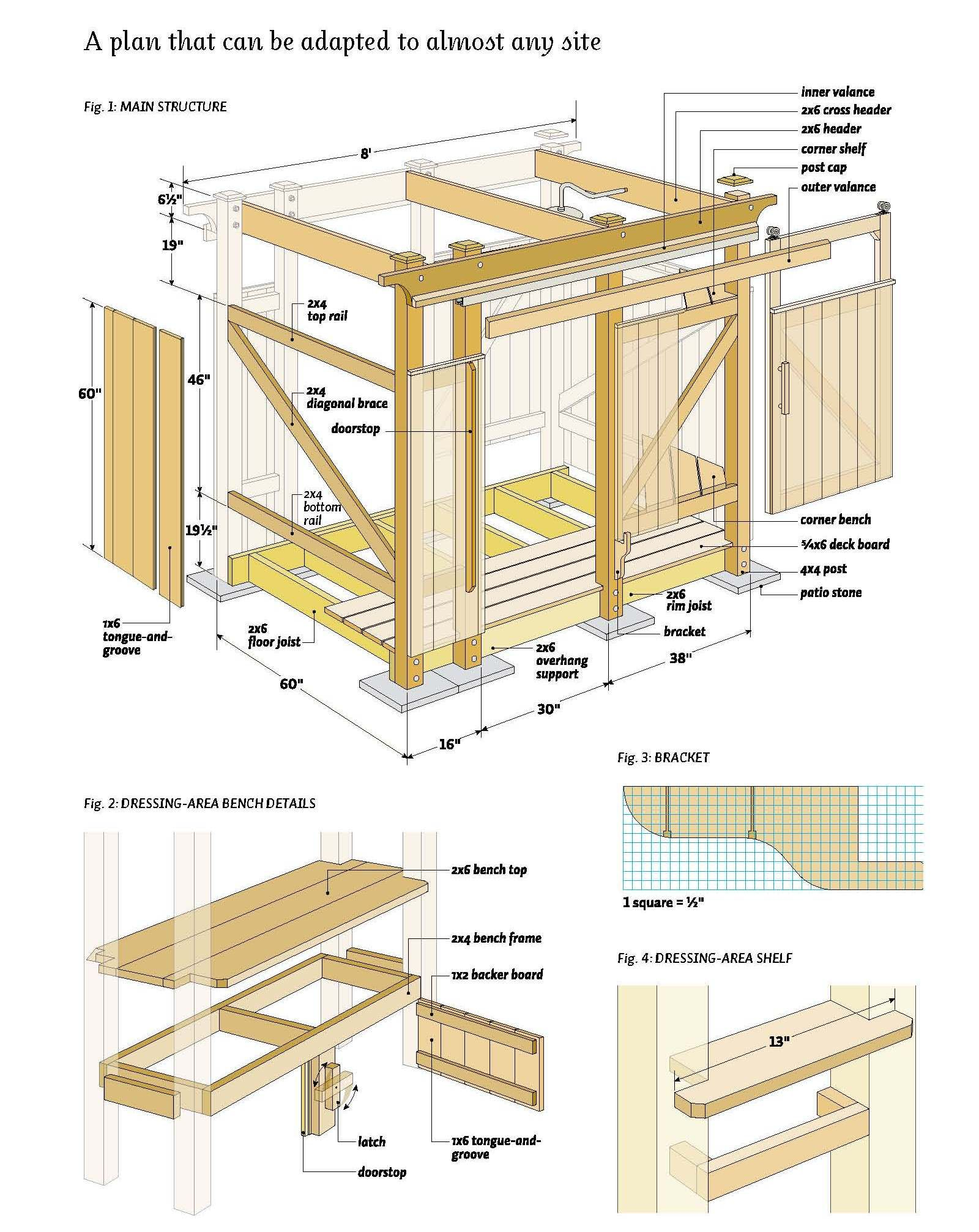 Free outdoor shower wood plans diy pinterest woods for Wood house design software