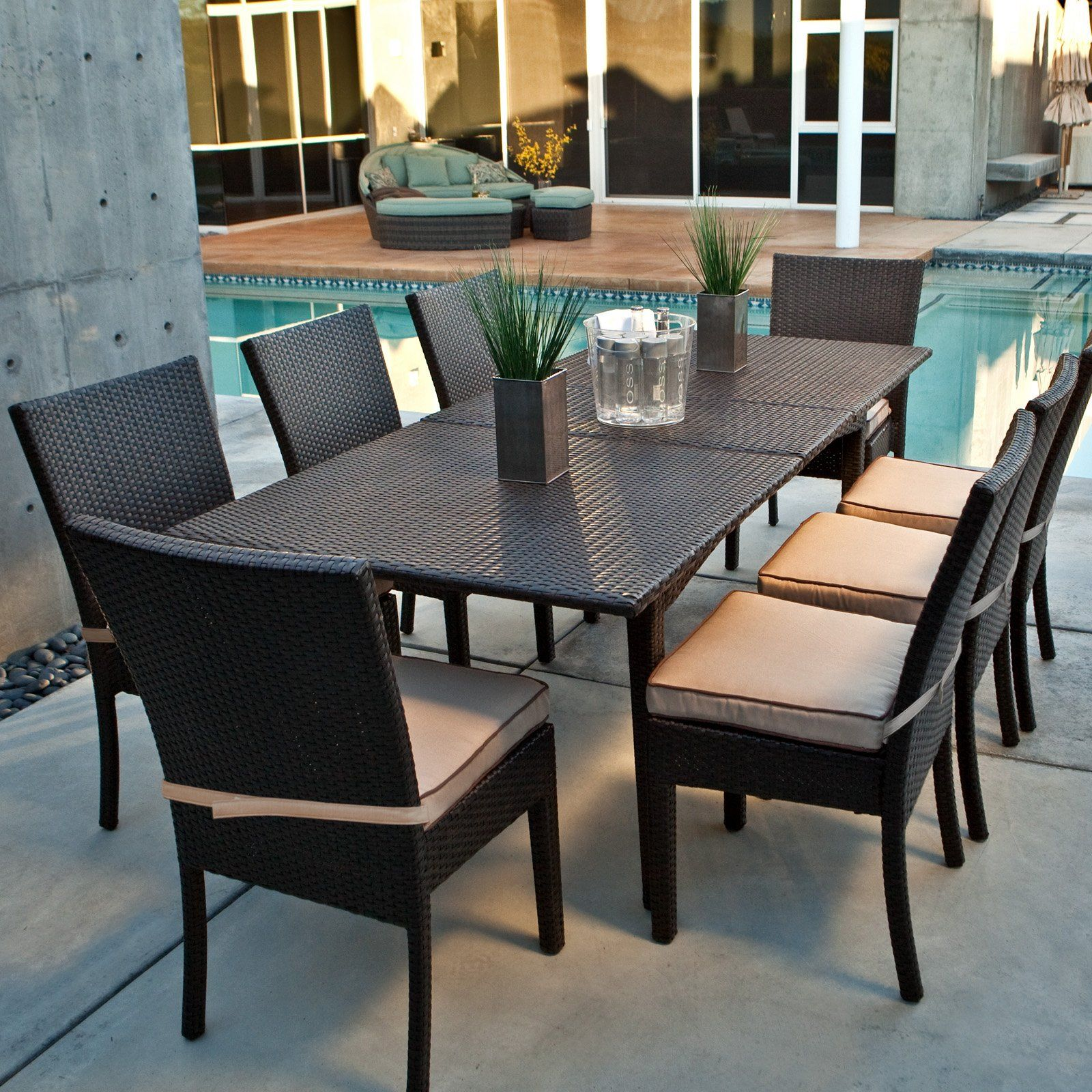 Coral Coast Vallejo All Weather Wicker Extension Dining Set - All weather outdoor dining table