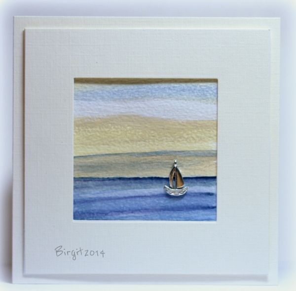 By Birgit Edblom (Biggan at Splitcoaststampers). Cute card! The boat is a little charm! Birgit used watercolor on watercolor paper for the background. Love the white linen cardstock frame popped up over the image.
