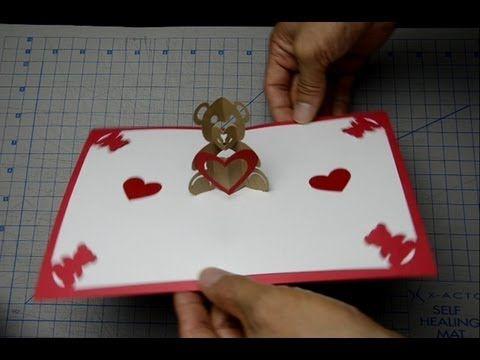 Teddy Bear Pop Up Card Tutorial And Template Creative Pop Up Cards Heart Pop Up Card Pop Up Card Templates Card Tutorial