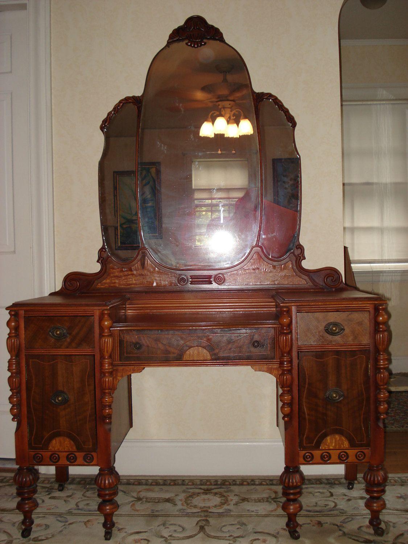 SUMMER SALE Ornate Victorian Vanity Dresser with Mirror
