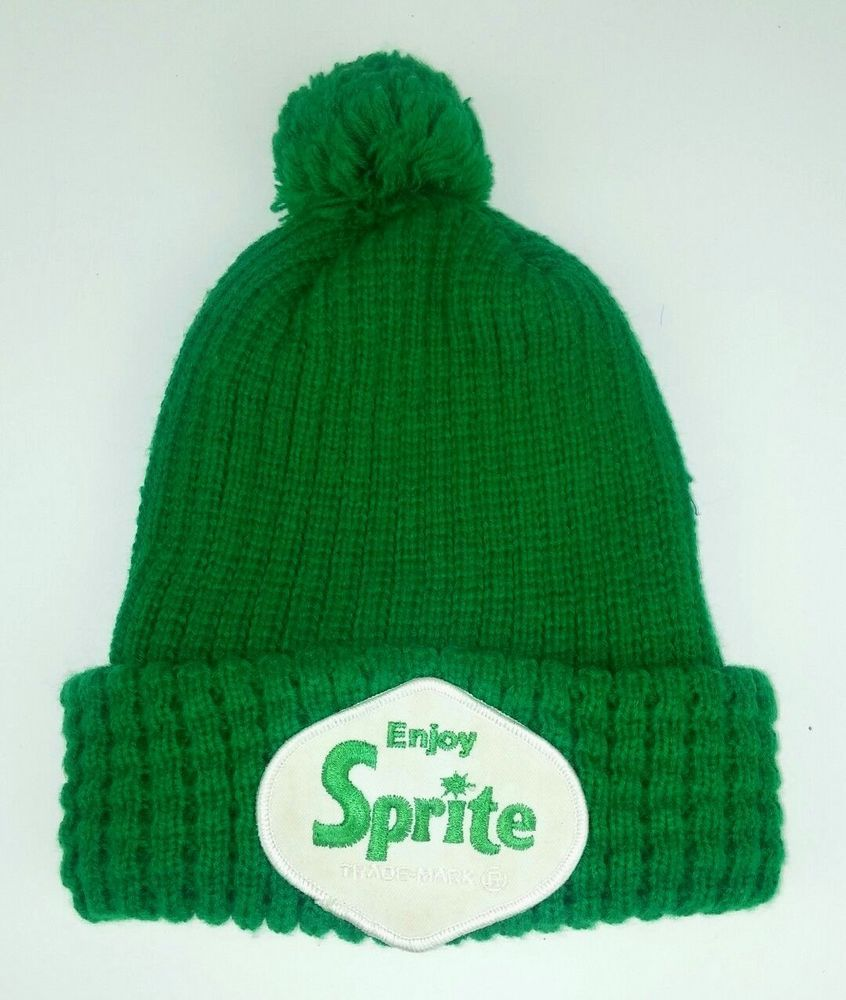 6ecbc5d2c53 Sprite Knit Beanie Hat Retro Green Pom Pom Retro Patch Beverage Soda Winter  Warm  Unbranded  Beanie
