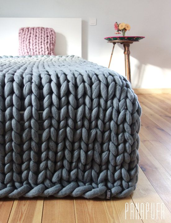 Merino Blanket Super Chunky Yarn Knitted Plaid By Panapufa